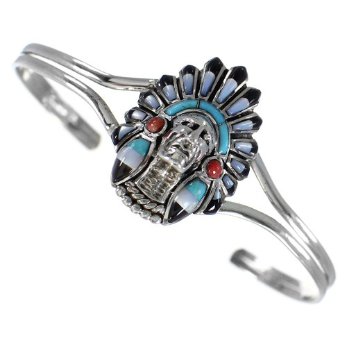 Silver Jewelry Turquoise Multicolor Inlay Chief Head Bracelet RS40901