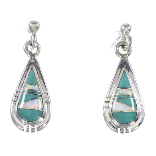 Silver Turquoise And Opal Tear Drop Post Dangle Earrings AX76926