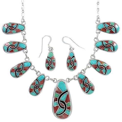 Red Oyster Shell Jewelry Turquoise Link Necklace And Earrings PX37951