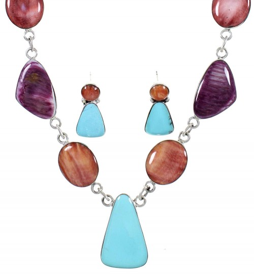 Southwest Multicolor Necklace and Earring Set PS61246