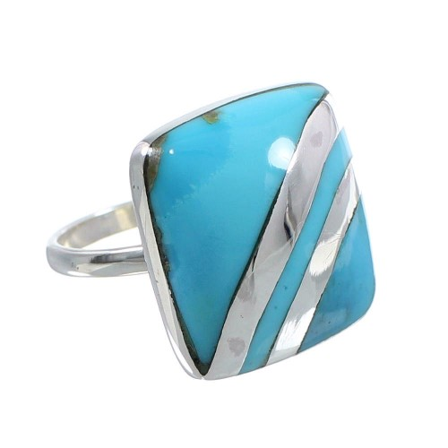 Turquoise Southwest Jewelry Sterling Silver Ring Size 6-1/4 MW63858