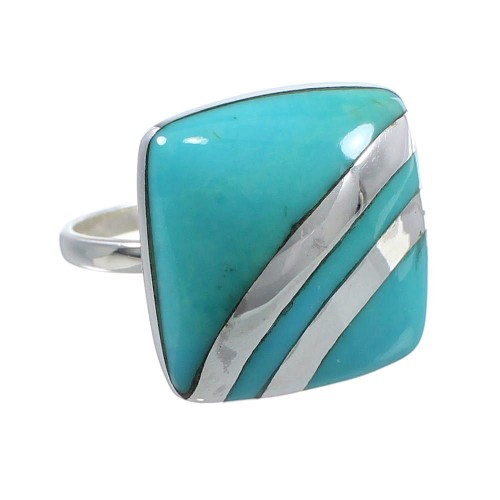 Sterling Silver Jewelry Turquoise Ring Size 8-1/4 MW63882