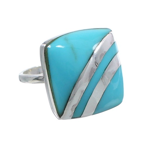 Silver Turquoise Southwest Ring Size 6-1/4 MW63890