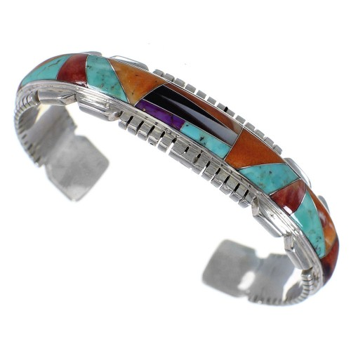 Sterling Silver Turquoise Multicolor Inlay Cuff Bracelet OS59517