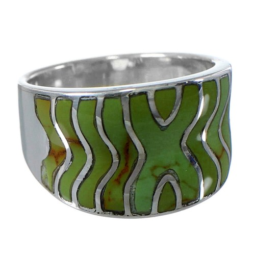 Southwest Turquoise Inlay Silver Ring Size 6-1/4 CW63703