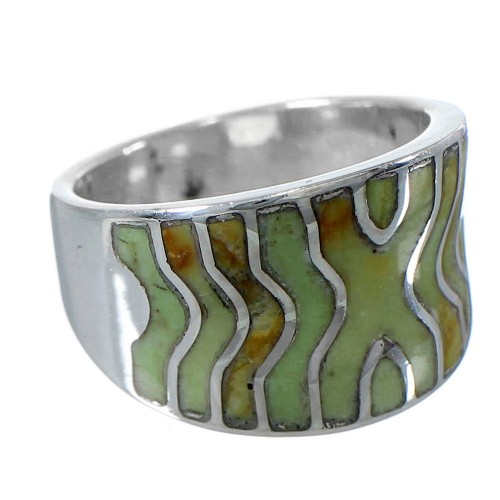 Silver Southwest Turquoise Inlay Ring Size 5-3/4 CW63724
