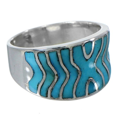 Southwest Jewelry Turquoise Inlay Silver Ring Size 5-1/4 CW63770