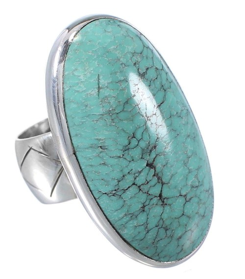 Southwestern Turquoise Silver Ring Size 4-3/4 YS61751