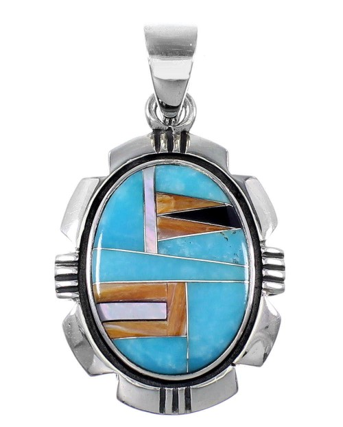 Turquoise And Multicolor Inlay Southwest Silver Pendant QS57888