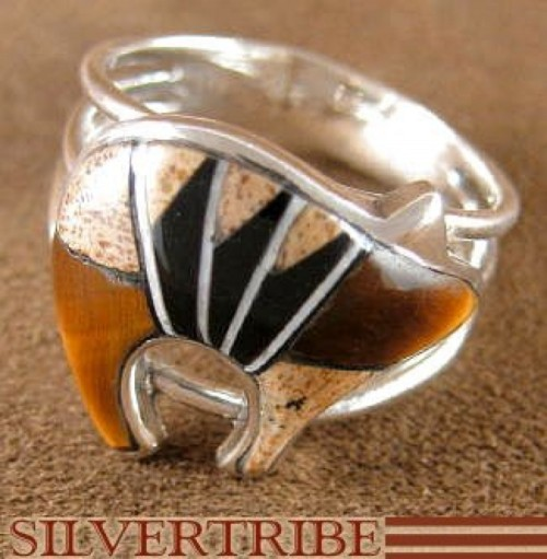 Silver Tiger Eye Multicolor Bear Ring Size 6-1/4 Jewelry NS27899