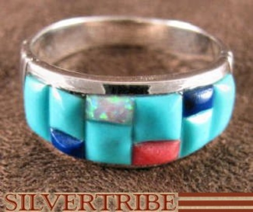 Turquoise Multicolor Jewelry Sterling Silver Ring Size 9-1/2 HS29206