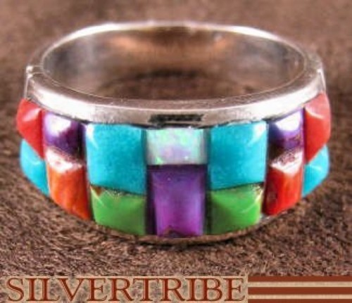 Tuquoise Multicolor Inlay Sterling Silver Ring Size 9-1/2 HS29229