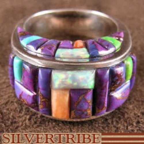 Multicolor Inlay Jewelry Sterling Silver Ring Size 9-1/2 HS29345