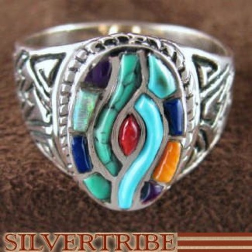 Southwest Multicolor Inlay And Sterling Silver Ring Size 8 AS50688