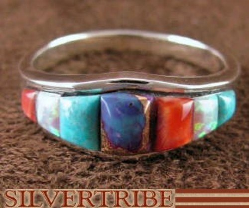 Multicolor Inlay Sterling Silver Ring Size 7-3/4 Jewelry NS35759