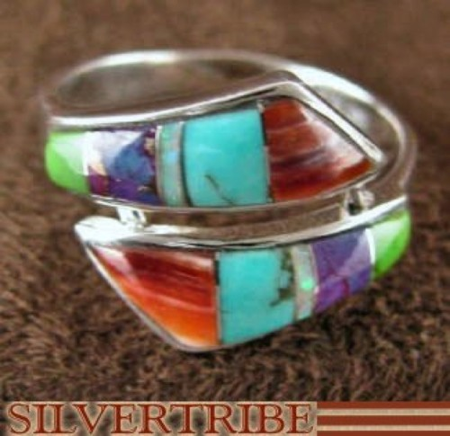 Multicolor Turquoise Sterling Silver Ring Size 6-1/2 Jewelry RS35664