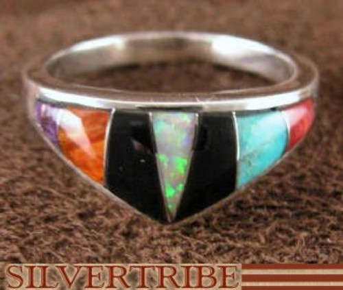 Opal Multicolor Inlay Sterling Silver Ring Size 5-3/4 Jewelry NS36181
