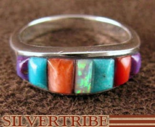 Turquoise Multicolor Inlay Sterling Silver Ring Size 4-3/4 NS36227