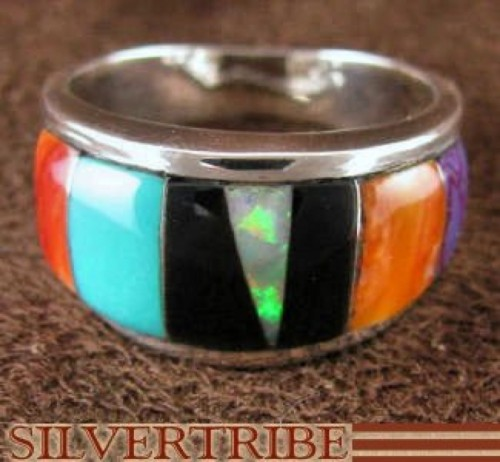 Silver Magenta Turquoise Multicolor Ring Size 8-3/4 Jewelry NS36536