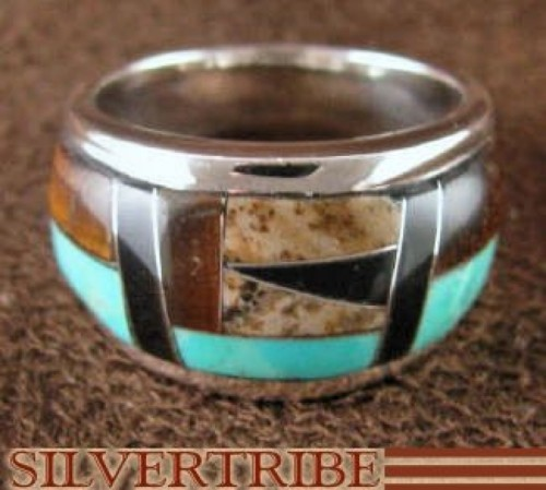 Sterling Silver Tiger Eye Multicolor Inlay Ring Size 5-3/4 NS36572