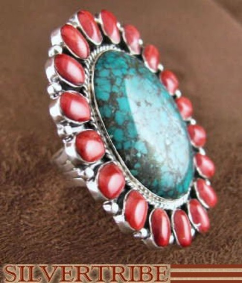 Red Oyster Shell And Turquoise Sterling Silver Ring Size 5-3/4 RS35880