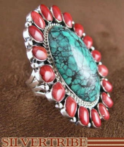 Turquoise And Red Oyster Shell Sterling Silver Ring Size 5-3/4 RS35882