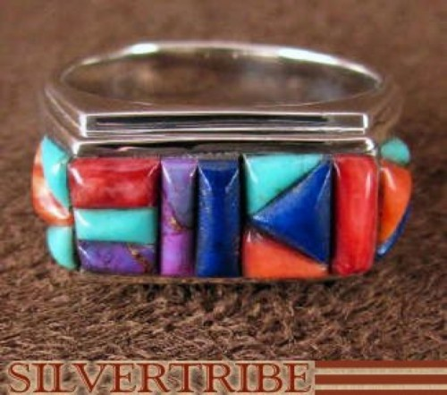 Sterling Silver Jewelry Turquoise Multicolor Ring Size 8-1/2 HS35881