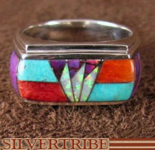 Silver Jewelry Turquoise Opal Multicolor Ring Size 8-3/4 HS35920