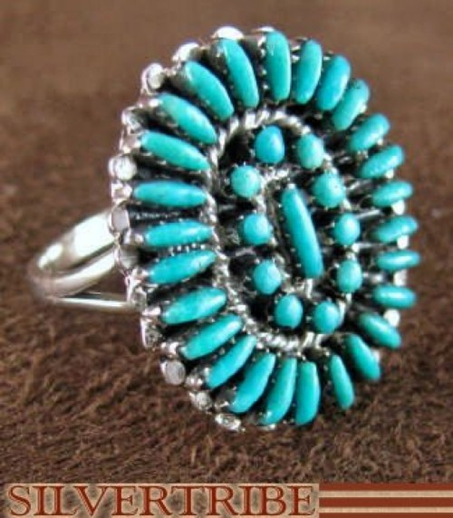Sterling Silver And Turquoise Ring Size 4-3/4 RS44618