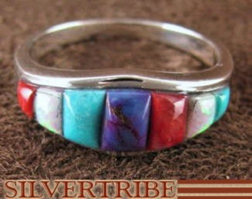 Silver Jewelry Turquoise And Multicolor Inlay Ring Size 7-3/4 RS37140