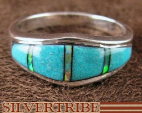 Turquoise And Opal Inlay Jewelry Silver Ring Size 6-3/4 RS37172