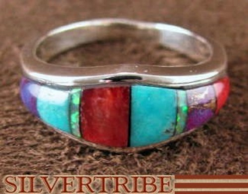 Sterling Silver Jewelry Multicolor Turquoise Ring Size 6-3/4 RS37273