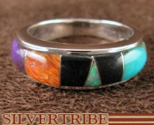 Turquoise Multicolor Sterling Silver Jewelry Ring Size 4-3/4 RS37413