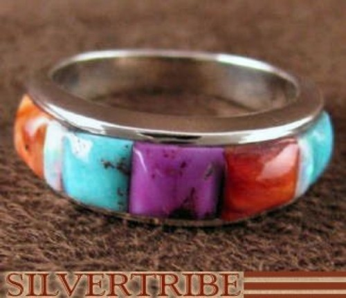 Sterling Silver Jewelry Multicolor Turquoise Ring Size 5-3/4 RS37423