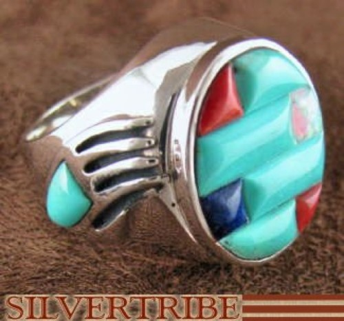Sterling Silver Turquoise Multicolor Bear Paw Ring Size 9-3/4 RS37512