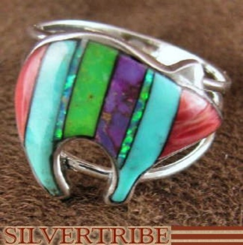 Sterling Silver Jewelry Multicolor Inlay Bear Ring Size 7-3/4 RS36932