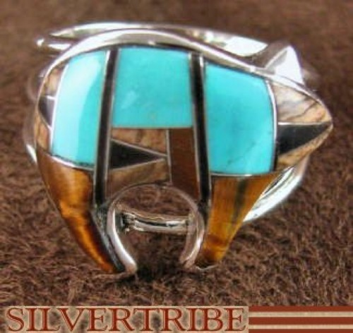 Multicolor Tiger Eye Sterling Silver Bear Ring Size 6-3/4 RS36950