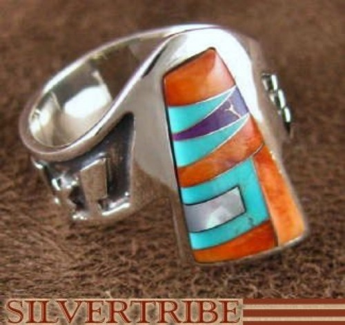 Oyster Shell Multicolor Silver Jewelry Ring Size 7-1/2 AS37281
