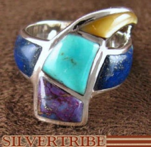 Turquoise And Multicolor Inlay Sterling Silver Ring Size 6-1/4 RS38075