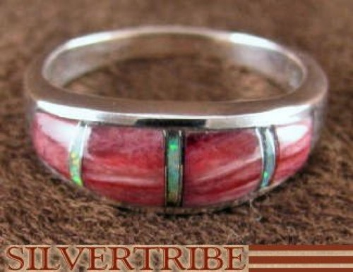 Red Oyster Shell And Opal Sterling Silver Ring Size 6-1/2 RS38189