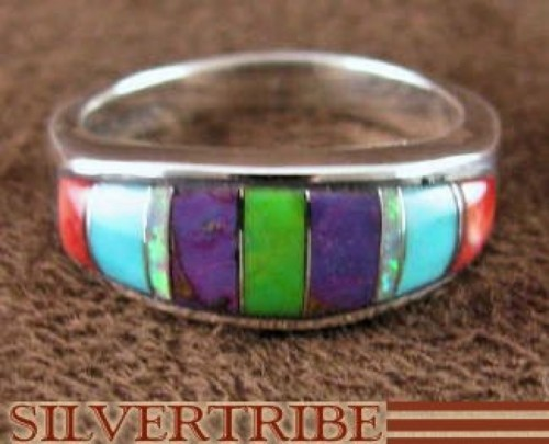 Turquoise Multicolor Inlay Sterling Silver Ring Size 5-3/4 RS38236