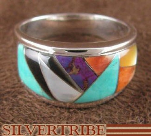 Multicolor And Oyster Shell Sterling Silver Ring Size 8-3/4 AS39308