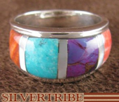 Multicolor Turquoise Genuine Sterling Silver Ring Size 7-3/4 AS39291