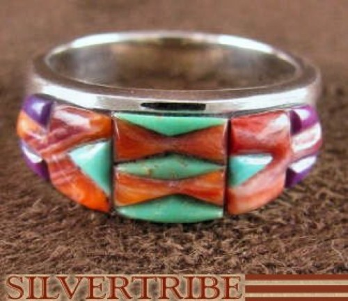 Sterling Silver Turquoise And Multicolor Inlay Ring Size 6-3/4 DS38022