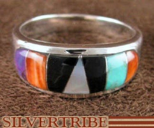 Sterling Silver Turquoise And Multicolor Inlay Ring Size 7-1/2 DS38158