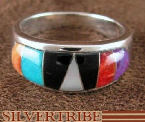 Sterling Silver Turquoise And Multicolor Inlay Ring Size 6-1/2 DS38161