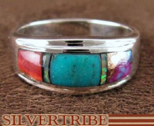 Turquoise Opal Multicolor Sterling Silver Ring Size 5-3/4 DS38202