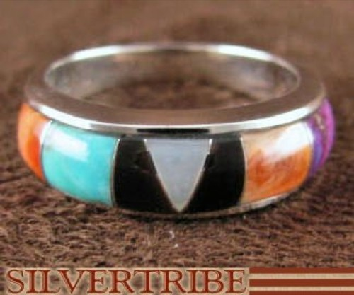 Turquoise Multicolor Inlay Sterling Silver Ring Size 5-3/4 DS38257