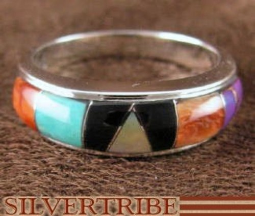 Sterling Silver Turquoise Multicolor Jewelry Ring Size 8-3/4 DS38296