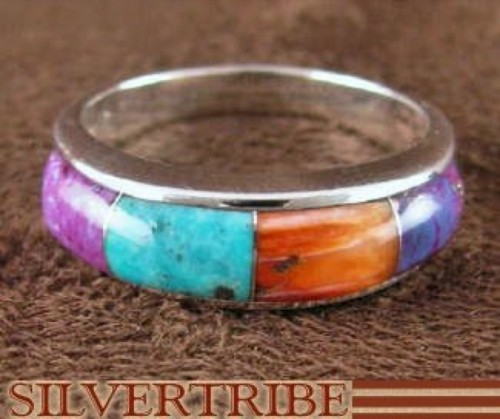 Sterling Silver Turquoise And Multicolor Inlay Ring Size 7-3/4 DS38298